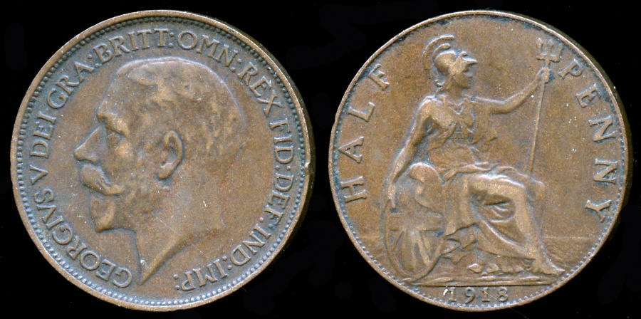World Coins - 1918 Great Britain 1/2 Penny XF