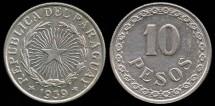 World Coins - 1939 Paraguay 10 Pesos UNC