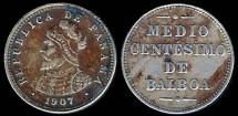 World Coins - 1907 Panama 1/2 Centesimo AU