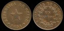World Coins - 1851 Chile 1 Centavo (Flat Star) BU