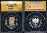 """World Coins - 1977 MW Poland 100 Zlotych - Silver Proof """"PROBA"""" - Henryk Sienkiewicz - ANACS PF69 Deep Cameon and Highest Graded by ANACS!"""