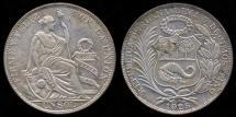 World Coins - 1925 Peru 1 Sol AU