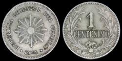 World Coins - 1924 (p) Uruguay 1 Centesimo AU