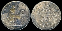 World Coins - 1869 YB Peru 1 Sol AU