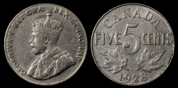 World Coins - 1928 Canada 5 Cent XF