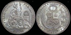 World Coins - 1870 Y.J Peru 1 Sol UNC