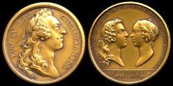 World Coins - 1747  France - King Louis XV - Second Marriage of Louis Ferdinand Dauphin with Marie-Josèphe of Saxony by Jean Duvivier