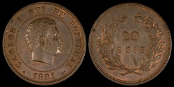 World Coins - 1891 Portugal 20 Reis - Carlos I - AU