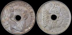 World Coins - 1934 Spain 25 Centimos - Republic Coinage - UNC