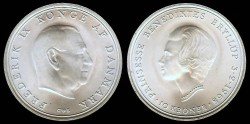 World Coins - 1968 Denmark 10 Kroner Commemorative BU