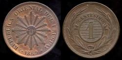 World Coins - 1869 A Uruguay 1 Cent UNC