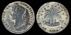 World Coins - 1854 MF-PTS Bolivia 4 Soles VF; Silver