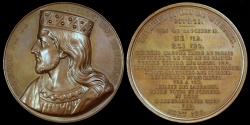 """World Coins - 1840  France - Thierri II (Theuderic IV), Merovingian King of the Franks (721 - 737) by Armand-Auguste Caqué for the """"Kings of France Series"""" #21"""