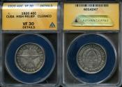 World Coins - 1920 Cuba 40 Centavo - 1st Republic - High Relief Star - ANACS VF30