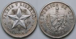 """World Coins - 1934 Cuba 1 Peso - """"Star Peso"""" - AU Silver"""