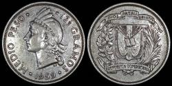 World Coins - 1959 Dominican Republic 1/2 Peso - Indian Princes - AU Silver