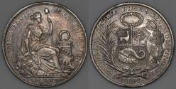 World Coins - 1896 F Peru 1 Sol - AU