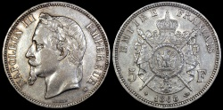 World Coins - 1868 BB France 5 Francs - Napoleon III - Strasbourg Mint - Second Empire - AU