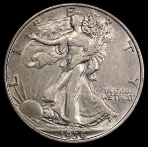 US Coins - 1936 P Walking Liberty Half Dollar AU