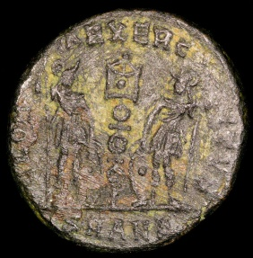 Ancient Coins - Constantine I Ae4 - GLORIA EXERCITVS - Antioch Mint