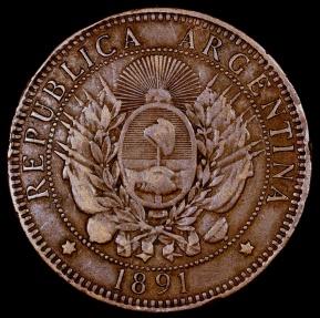 World Coins - 1891 Argentina 2 Centavo VF