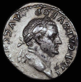 Ancient Coins - Vespasian Denarius - PONTIF MAXIM - Rome Mint