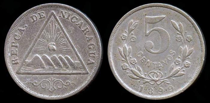 World Coins - 1899 Nicaragua 5 Centavos AU