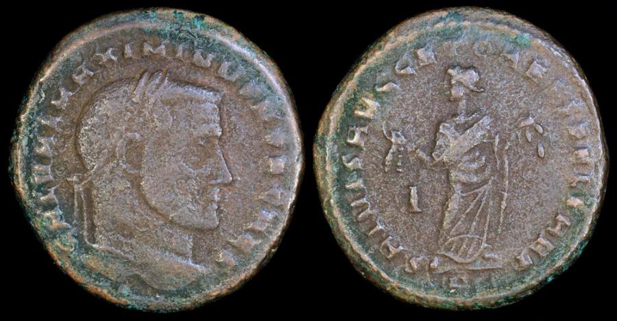 Ancient Coins - Maximinus II Ae Follis - SALVIS AVGG ET CAESS FEL KART - Carthage Mint