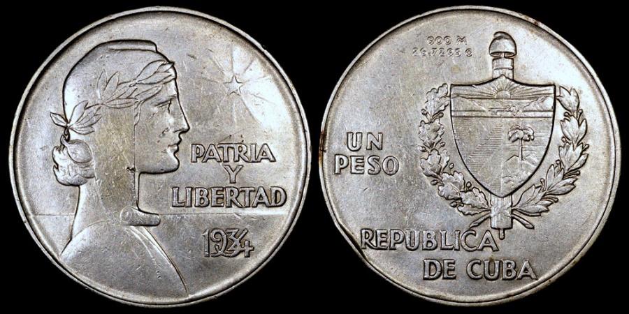 "World Coins - 1934 Cuba 1 Peso ""ABC"" XF"