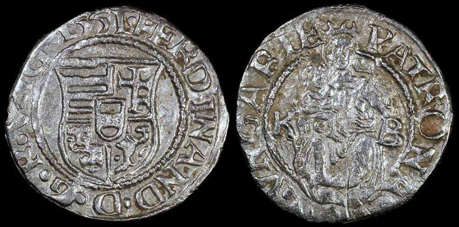 1551 Kb Hungary 1 Denar Ferdinand I Au Silver