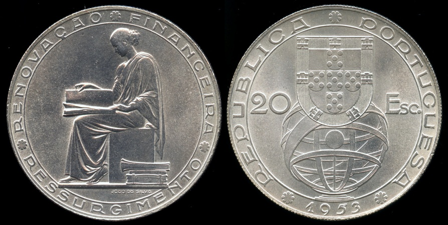 "World Coins - 1953 Portugal 20 Escudos - ""25th Anniversary of the Financial Reform"" Silver Commemorative BU"