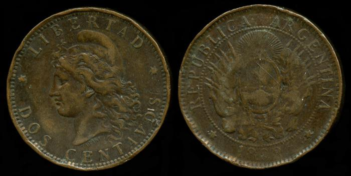 World Coins - 1892 Argentina 2 Centavos VF