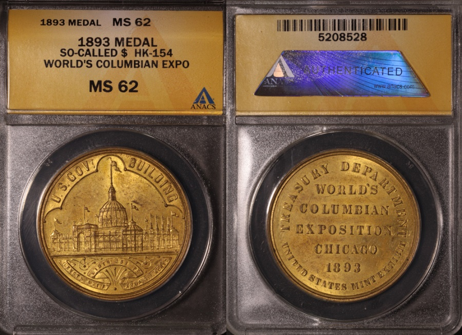 US Coins - 1893 World's Columbian Exposition, Chicago Illinois (So-Called Dollar) ANACS MS62