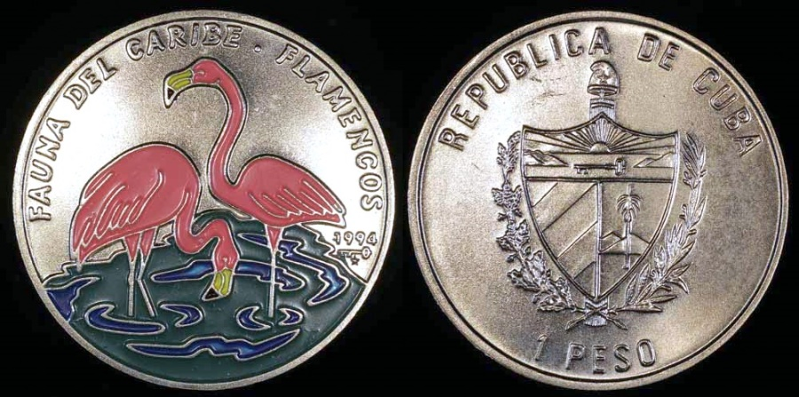 World Coins - 1994 Cuba 1 Peso - Multi-colored Flamingos - Caribbean Fauna - BU (Only 25,000 Pieces Were Struck)