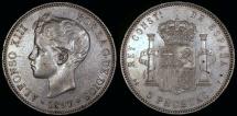 World Coins - 1897 (97) SG-V Spain 5 Pesetas - Alfonso XIII - AU