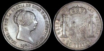 World Coins - 1854 Spain 20 Reales - Isabel II - XF Silver