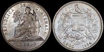 1894 H Guatemala 1 Peso - Justice Seated - AU