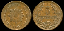 World Coins - 1944 So Uruguay 5 Centesimo XF
