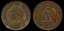 World Coins - 1861 BB France 10 Centimes AU
