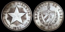 "World Coins - 1932 Cuba 1 Peso ""Star Peso"" AU"