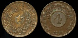 World Coins - 1870 Paraguay 4 Centesimos UNC