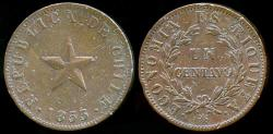 World Coins - 1853 Chile 1 Centavo XF