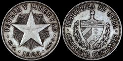 World Coins - 1920 Cuba 40 Centavo - 1st Republic - High Relief Star - VF
