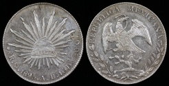 World Coins - 1895 MoAB Mexico (Mexico City Mint) 8 Real AU
