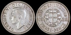 World Coins - 1939 Great Britain 3 Pence - George VI - AU