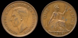World Coins - 1938 Great Britain 1 Penny AU