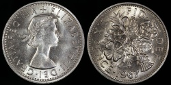 World Coins - 1967 Great Britain 6 Pence - Elizabeth II - UNC