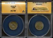 World Coins - 1916 Cuba 2 Centavo - 1st Republic - ANACS AU58