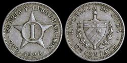 World Coins - 1920 Cuba 1 Centavo - 1st Republic - AU