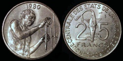 """World Coins - 1980 (a) West Africa 25 Francs - FAO """"Food Scientist"""" Commemorative (Only 7,800 pieces struck) - BU"""